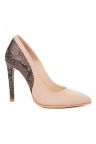 Pantofi cu toc toc subtire din piele naturala 4320
