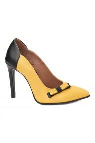 Pantofi cu toc toc subtire din piele naturala 4360