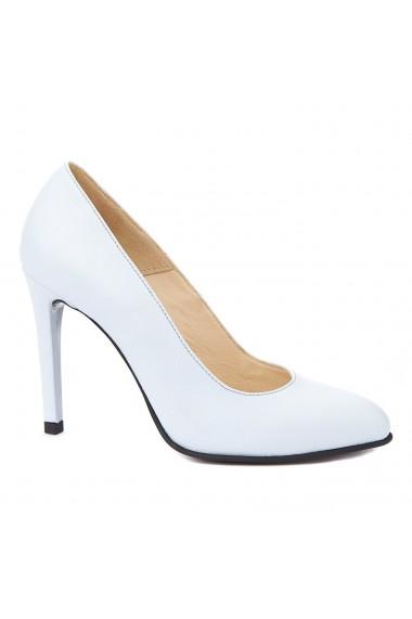 Pantofi cu toc toc subtire din piele naturala bleu 4279