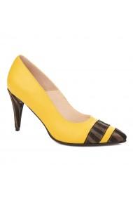 Pantofi toc subtire din piele naturala galbena 4294