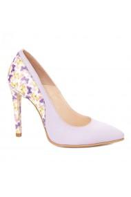 Pantofi toc subtire din piele naturala lila 4297