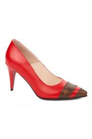 Pantofi toc subtire din piele naturala rosie 4296