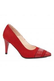 Pantofi cu toc toc subtire din piele naturala rosie 4325