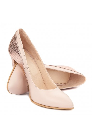 Pantofi toc subtire din piele naturala roz 4295