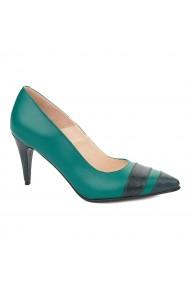 Pantofi cu toc toc subtire din piele naturala verde 4324
