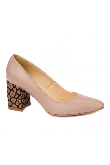 Pantofi dama din piele naturala bej cu toc imbracat 4418