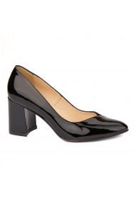 Pantofi cu toc dama din piele naturala neagra lacuita 4419