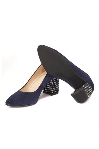 Pantofi cu toc dama din piele naturala bleumarin toc imbracat 4420