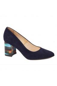 Pantofi cu toc dama din piele naturala bleumarin toc imbracat 4421