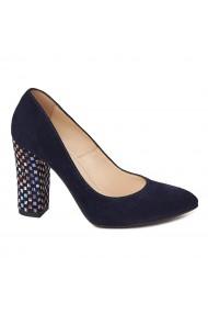 Pantofi cu toc dama din piele naturala bleomarin toc imbracat 4423