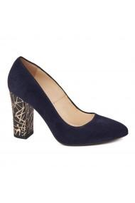 Pantofi cu toc dama din piele naturala bleomarin toc imbracat 4426