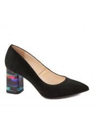 Pantofi cu toc dama din piele naturala negru toc imbracat 4427