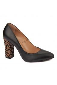 Pantofi cu toc dama din piele naturala negru toc imbracat 4428