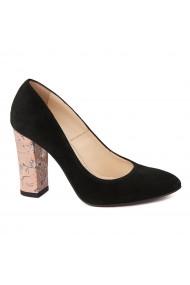 Pantofi cu toc dama din piele naturala negru toc imbracat 4429