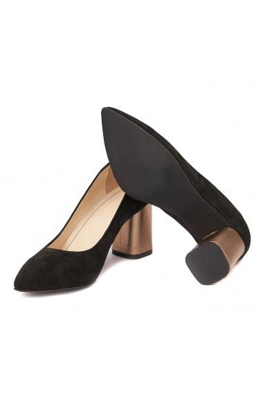 Pantofi cu toc dama din piele naturala negru toc imbracat 4430