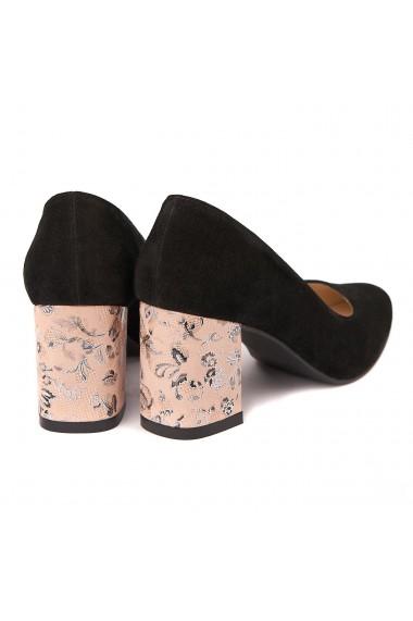 Pantofi cu toc eleganti din piele naturala negra cu toc imbracat 4432