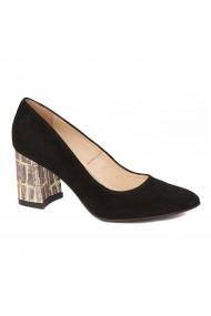 Pantofi cu toc eleganti din piele naturala negra cu toc imbracat 4433