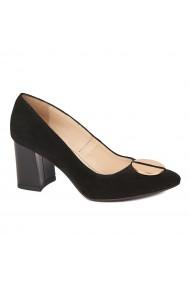Pantofi cu toc eleganti din piele naturala negra cu toc vopsit 4434