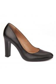 Pantofi cu toc eleganti din piele naturala negra cu toc vopsit 4435