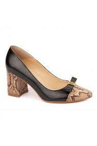 Pantofi cu toc eleganti din piele naturala negra cu toc imbracat 4436