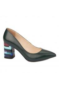 Pantofi cu toc eleganti din piele naturala verde cu toc imbracat 4437