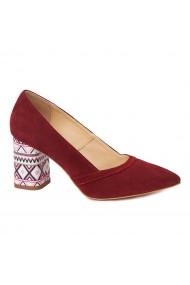 Pantofi cu toc eleganti din piele naturala bordo cu toc imbracat 4438