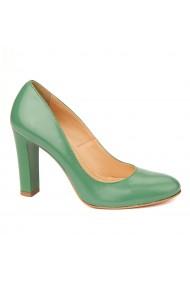 Pantofi cu toc eleganti din piele naturala verde cu toc vopsit 4442