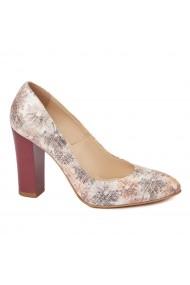 Pantofi cu toc eleganti din piele naturala floral cu toc vopsit 4443