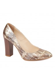 Pantofi eleganti din piele naturala multicolora cu toc vopsit 4444