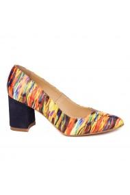 Pantofi eleganti din piele naturala multicolora cu toc vopsit 4445