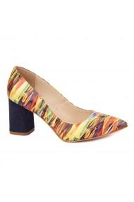 Pantofi cu toc eleganti din piele naturala multicolora cu toc vopsit 4446