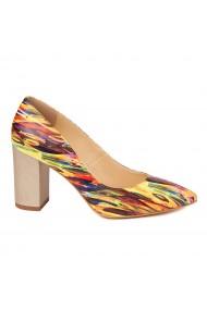 Pantofi cu toc eleganti din piele naturala multicolora cu toc vopsit 4447
