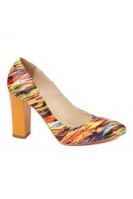 Pantofi eleganti din piele naturala multicolora cu toc vopsit 4448