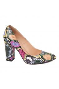 Pantofi cu toc eleganti din piele naturala multicolora cu toc vopsit 4449