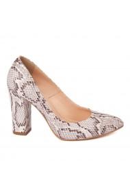 Pantofi cu toc eleganti din piele naturala model sarpe cu toc imbracat 4451