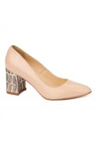 Pantofi cu toc eleganti din piele naturala bej cu toc imbracat 4452
