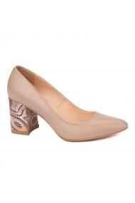 Pantofi cu toc eleganti din piele naturala bej cu toc imbracat 4453