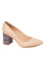 Pantofi eleganti din piele naturala bej cu toc imbracat 4454