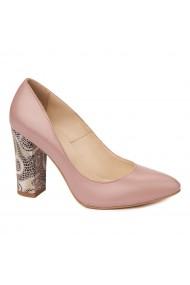 Pantofi cu toc eleganti din piele naturala bej cu toc imbracat 4455
