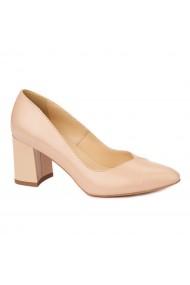 Pantofi cu toc eleganti din piele naturala bej cu toc vopsit 4457
