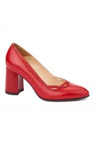 Pantofi cu toc rosii dama eleganti din piele naturala 4233