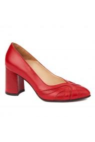 Pantofi cu toc rosii dama eleganti din piele naturala 4234
