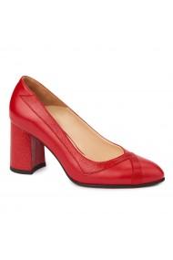 Pantofi cu toc rosii dama eleganti din piele naturala 4236