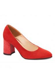 Pantofi cu toc rosii dama eleganti din piele naturala 4237