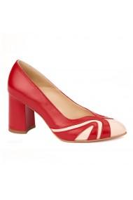 Pantofi cu toc rosii dama eleganti din piele naturala 4238