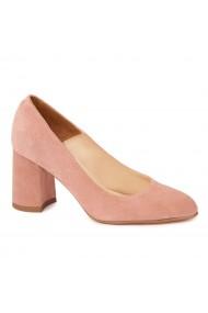 Pantofi cu toc roz pal dama eleganti din piele naturala 4240