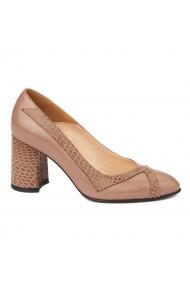 Pantofi cu toc dama eleganti din piele naturala 4244