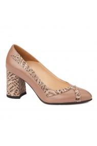 Pantofi cu toc dama eleganti din piele naturala 4246