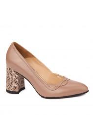 Pantofi cu toc dama eleganti din piele naturala 4247