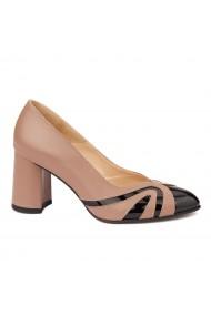 Pantofi cu toc dama eleganti din piele naturala 4248
